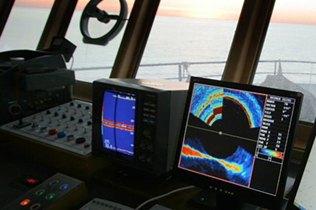 Computer screens onboard trawler in the Spencer Gulf